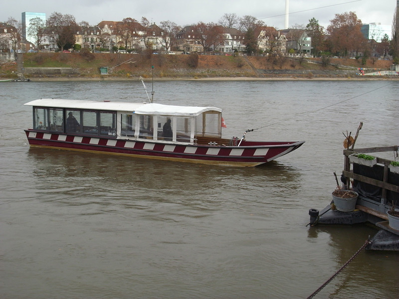 Basel, St. Alban Fähre - one of four Rhine ferries between Kleinbasel and Grossbasel, summoned by ringing a bell and powered solely by the river current.