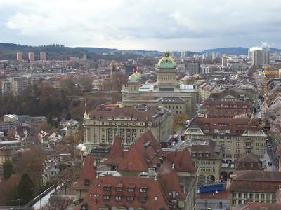 Bern - Bundeshaus (Swiss Parliament) from the Munster.