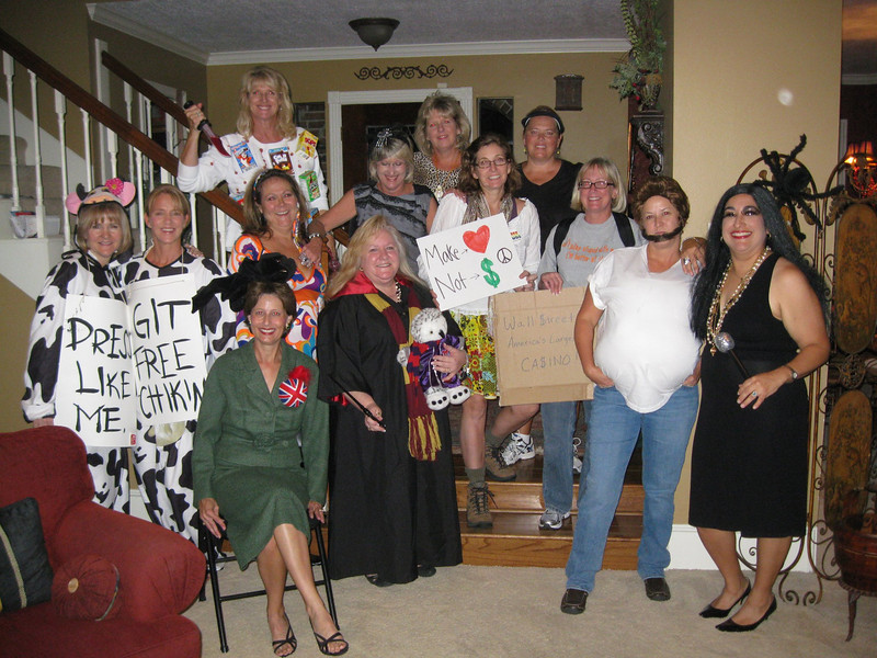 Halloween Bunko at Betsy's!! front: Sharon (oh too royal), me (her'wendy'), Wendy & Dina (Chaz and Cher) middle: Betsy & Shari (chic fil a cows), Cynthia (go go dancer), Kathy (spider queen), Kim & Nancy (wallstreet protestors) back: Kathy (cereal killer), Pattie (pop star), Carolyn (tennis player)