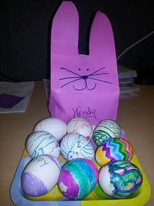 our eggs at work