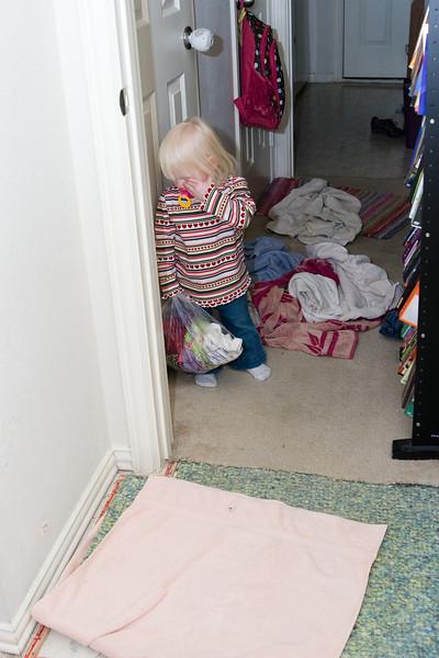 Kaetlyn dismayed at the damage.