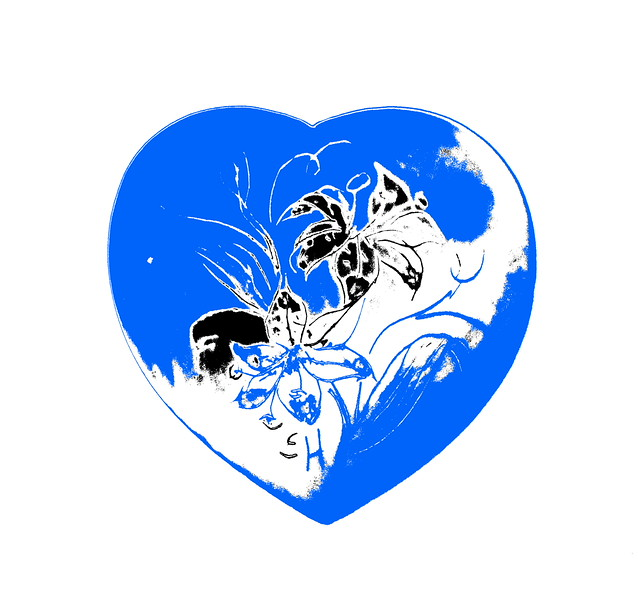Heart in White and Blue