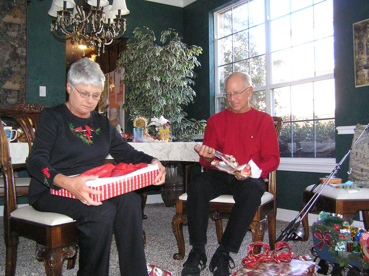 Opening gifts at our house.  Norm and Toy.