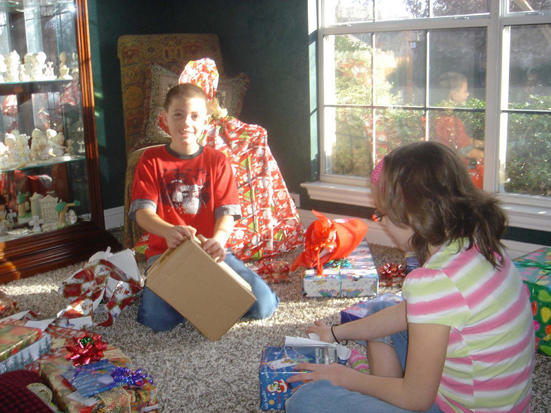 Opening gifts at our house.