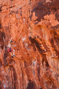 Alan off the very bouldery Geometric Progression 5.12b at the Pier, Red Rocks