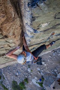 Karin crushing a 5.10d in Pine Creek