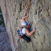 Karin crushing a 5.10d in Pine Creek