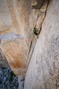 Chris on the mega Classic Sheila 10a at Pine Creek, Bishop area