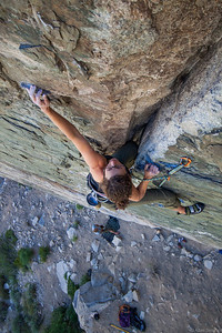 Pam crushing a 5.10d in Pine Creek