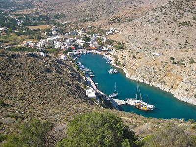 bird's eye view of the natural marina of Vathy