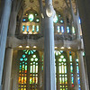 The stunning stain glass windows inside the Sagrada Familia