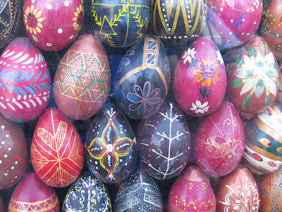 Wooden easter eggs decorating a bus shelter
