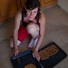 Cath making home made muesli bars and sesame snaps. mmmmm.