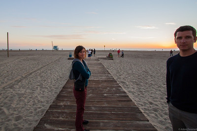 Cath and Mike enjoying the sunset at Venice beach,