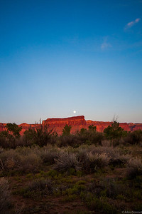 Moon rise from camp in Indian Creek