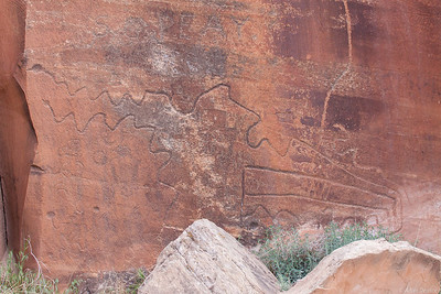 maybe a map of the canyon? - Petroglyphs at the start of Indian creek