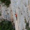 Cath climbing in Abella de la Conca