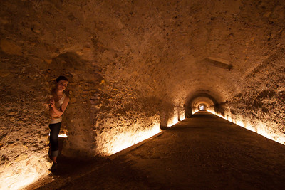 The underground walk way part of the old town, from Roman times
