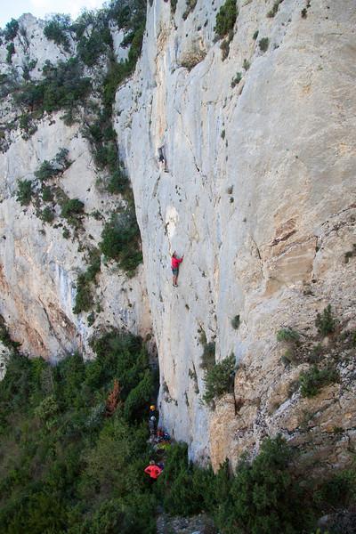 Duncan with a photo approved top climbing in Abella de la Conca