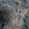The scene of a Tufa epic! Pince Sans Rire 7b+++ fell looking at the anchor having skipped the last bolt!!