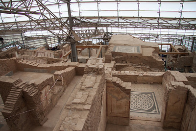 Town area being excavated under cover in Ephesus