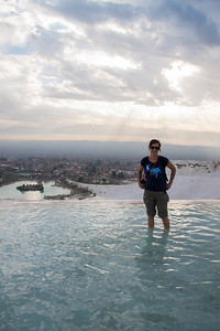 Cath in the warm spring water at the Cotton Castle or Travertine pools at Pamukkale