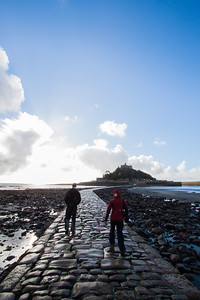 Marty and Cath on the way out to Saint Michael's Mount of the Cornwall coast