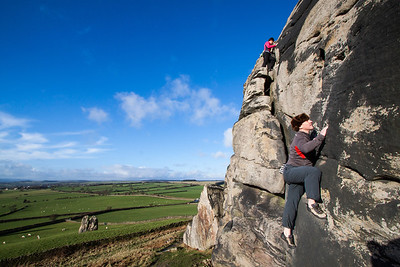 Cath and Al Soloing at Almscliff