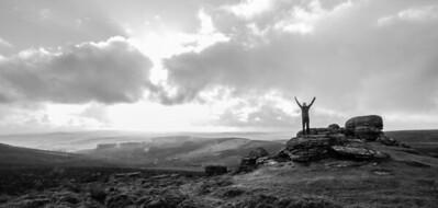Cath enjoying exploring Dartmoor