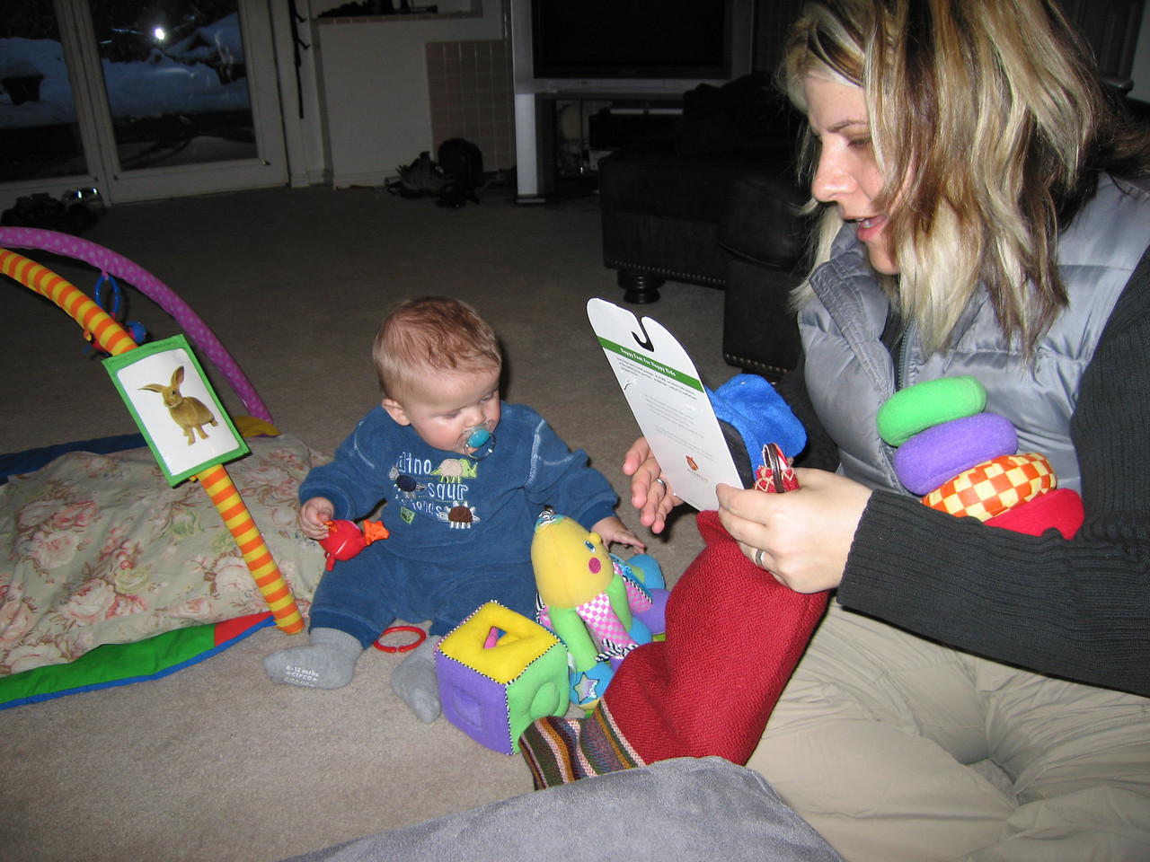 Owen and Kelly opening stockings