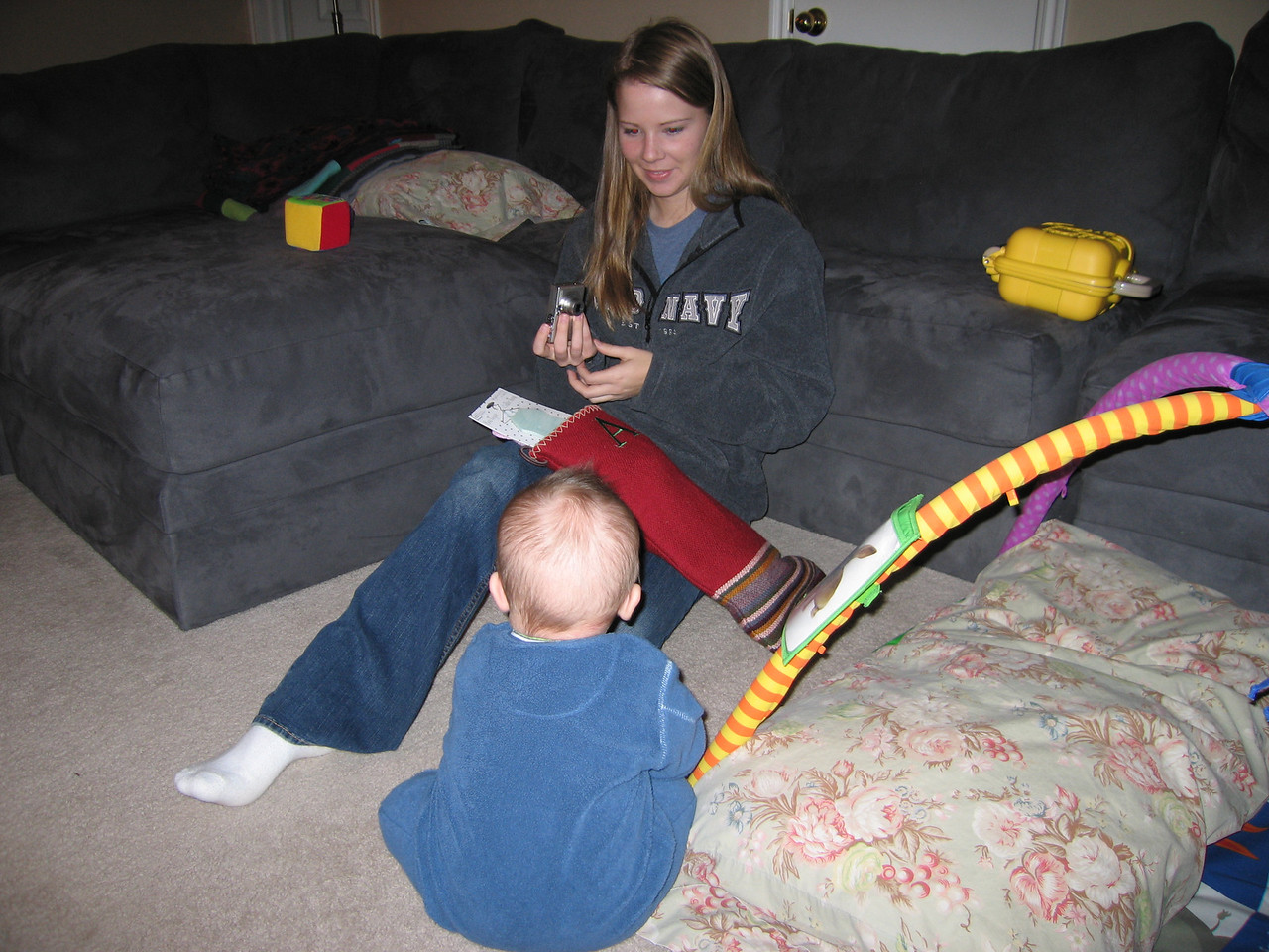Anne and Owen opening stockings on Dec 22 before we began our drive
