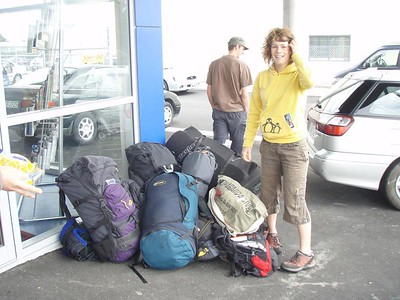 Cath and our mountain of luggage