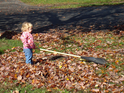 Beverly helping rake the leaves