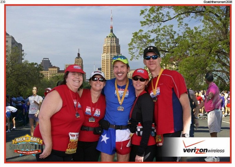 San Antonio Rock & Roll Marathon and Half - (From L to R): Carolyn's sister Gloria, Carolyn who had her fastest half marathon ever, Tom, Vickie and her hubby Kenneth.  Tom and Kenneth both ran the marathon while the girls ran the half.  The best part is the smile on Tom's face. A night and day difference from Dallas where he was almost brought to tears.