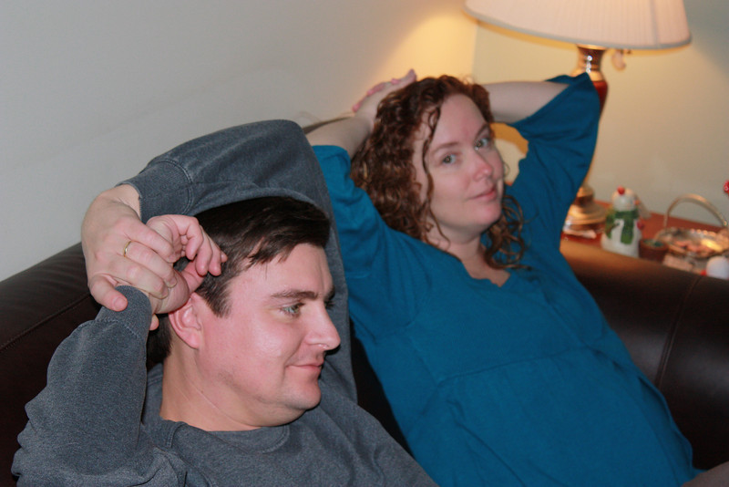 Elisha and David relaxing during the New Years party @ the Eksi's