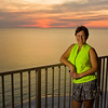 A beautiful sunset from our balcony a few days before Carolyn's Ironman.  Once again, notice the calm surf.