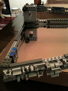 Stage 1 of the 2009 Imperial Star Destroyer Project. We didn't realize until about Page 25 that we should have done the frame TWICE. Bummer. The 2 mirror images went together to form the skeleton of this 3.5 foot behemoth.