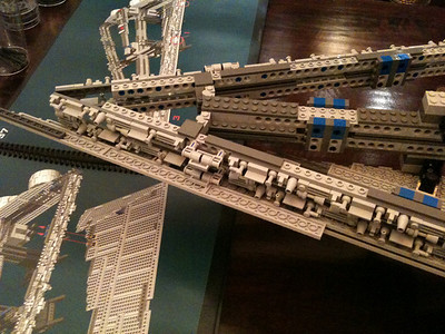 2009 Imperial Star Destroyer Project, forward section of the skeleton, with the instruction book in the background.