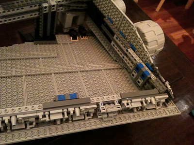 2009 Imperial Star Destroyer Project, rear wing detail. The blue/white block areas connect the 2 mirror images that form the top and bottom parts of the skeleton.