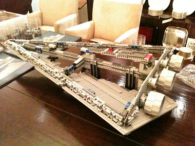 2009 Imperial Star Destroyer Project, about 4 hours into the project. Skeleton completed, 1 of 4 wing surfaces installed.