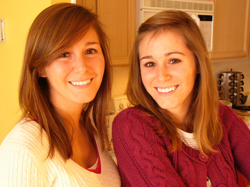 The Twins flew home for Thanksgiving.  Kelly on left, Megan on the right.  They really came home for delicious Mexican food, but stayed for Turkey.