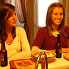 The Twins, Kelly (l) and Megan (r) enjoy their 1st beer and delicious snacks before the feast