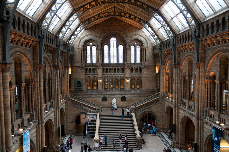 Main hall of the Natural History Museum seen from the upper levels.  London, England.
