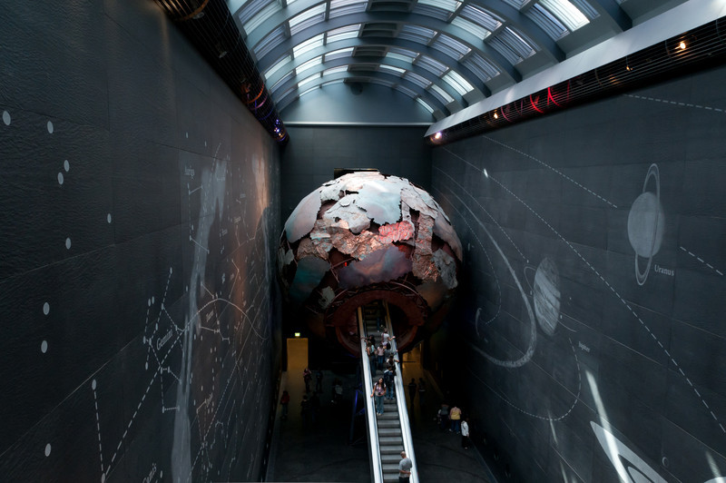 Nice escalator to the upper levels of the museum.<br /> Natural History Museum, London, England.
