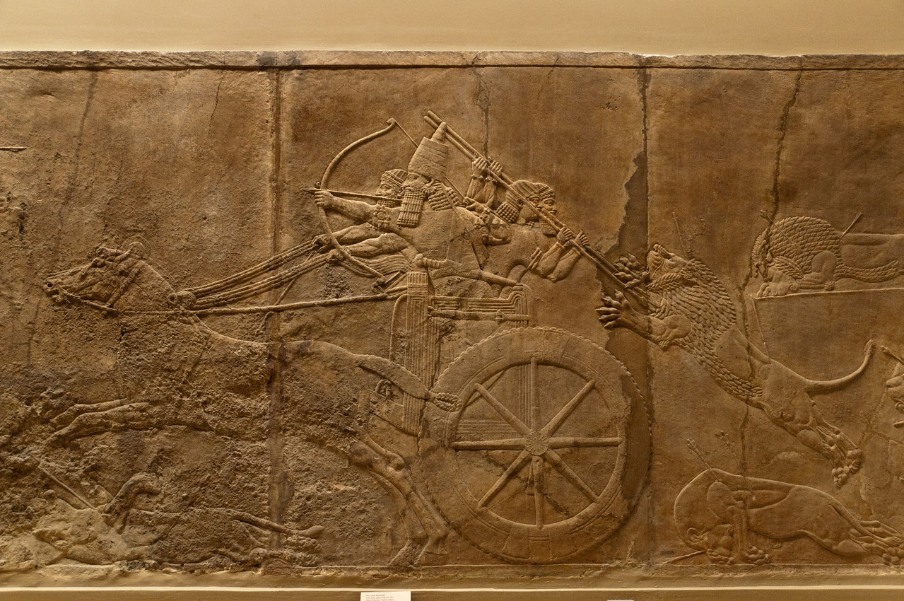 Assyrian sculpture (Royal lion Hunts), British Museum, London, England.