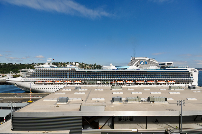 Sapphire Princess also docked at Pier 91 and remained nearby during the cruise.