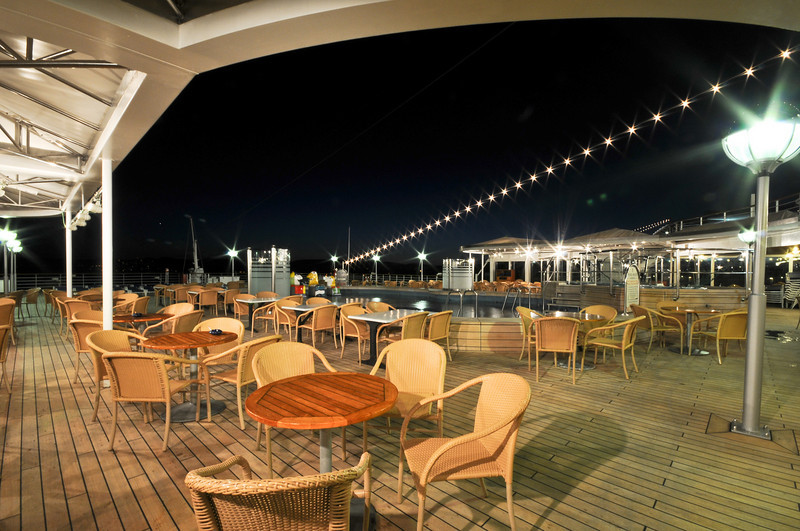 The outdoor aft section of the lido deck.