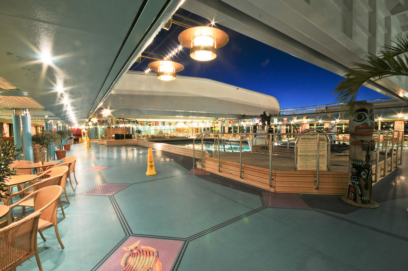 Covered/un-covered pool area of the lido deck.