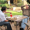 Dee and Ann's son-in-law, Mike Smieder, relax on the Mom's patio.