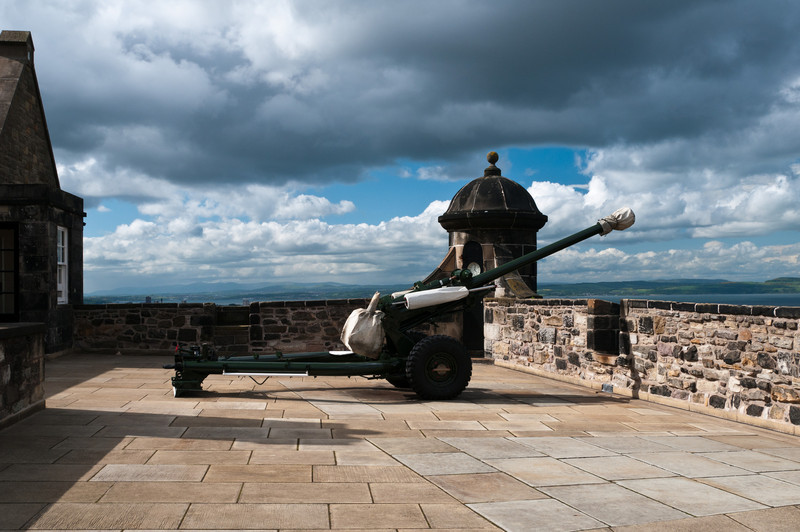 The one o'clock gun in Edinburgh castle. Scotland
